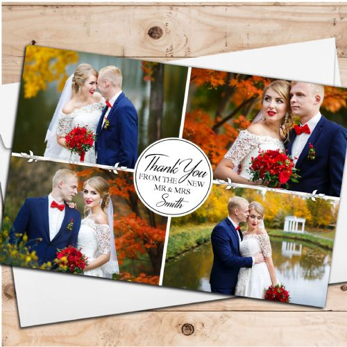 10 Personalised Premium Wedding Thank you Photo Cards N258